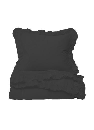 Helen George Vintage Fırfırlı Çift Kişilik Nevresim Takımı - Siyah Siyah
